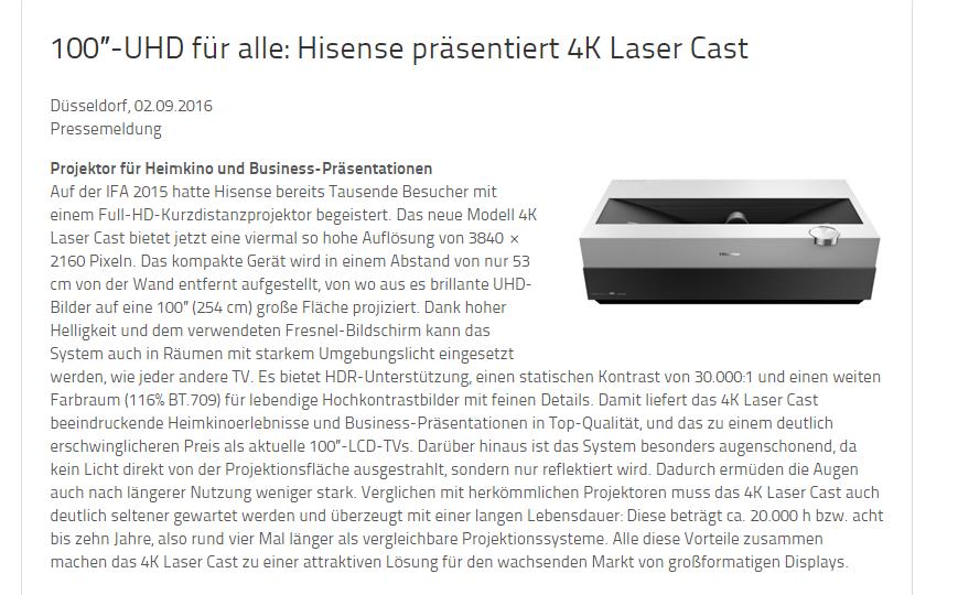 neu und ultra hd laser cast von hisense. Black Bedroom Furniture Sets. Home Design Ideas