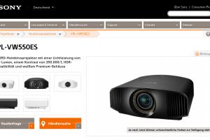 Sony VPL-VW550ES: 4K-Power für die Leinwand daheim