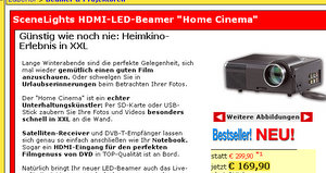 SceneLights HDMI LED Mini Beamer Home Cinema (Foto: Pearl)
